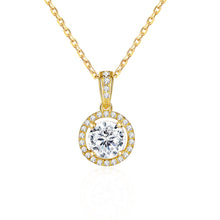 Load image into Gallery viewer, 14k Solid  Yellow Gold 1 Carat 6.5mm Moissanite Classic Bezel Set Solitaire Simulated Diamond Pendant Necklace for Women Girls