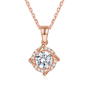 Forever Moissanite Cushion Cut Blue Tinted 14k Yellow Gold Moissanite Pendant Necklace for Women