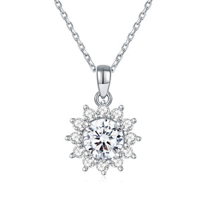 14k Yellow Gold Oval Moissanite and Diamond Pendant Necklace for Women