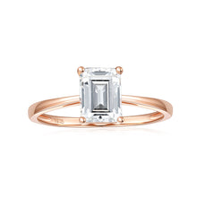 Load image into Gallery viewer, Moissanite Solitaire Peg Head Cathedral Engagement Ring 2 Carat 14k Rose Gold