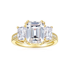Load image into Gallery viewer, DEF Color Cushion Cut Moissanite Three Stone Engagement Rings with Accents Band