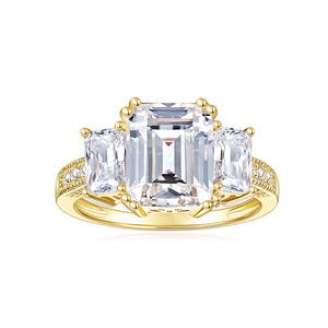 DEF Color Cushion Cut Moissanite Three Stone Engagement Rings with Accents Band