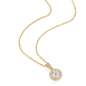 14k Solid  Yellow Gold 1 Carat 6.5mm Moissanite Classic Bezel Set Solitaire Simulated Diamond Pendant Necklace for Women Girls