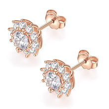 Load image into Gallery viewer, 14k Solid Real Brilliance Cut Moissanite Simulated Diamond Small Simple Round Halo Circle Stud Earrings Dainty Fine Jewelry For Women (D-E Color, VVS Clarity)