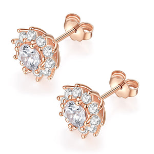 14k Solid Real Brilliance Cut Moissanite Simulated Diamond Small Simple Round Halo Circle Stud Earrings Dainty Fine Jewelry For Women (D-E Color, VVS Clarity)