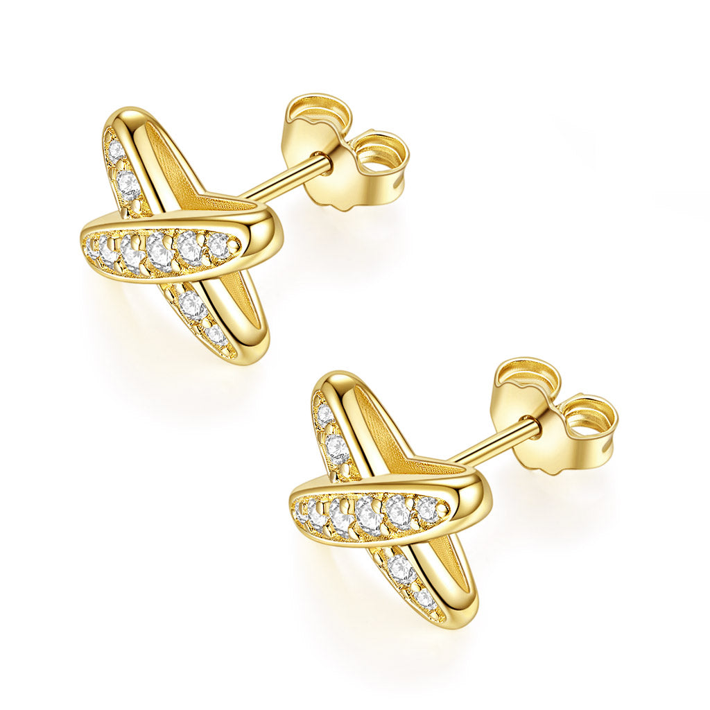 14k Yellow Gold Moissanite Butterfly Earrings two lines with together Earring for Women