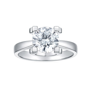 14K White Gold DEF Color VVS Moissanite Classic Four Prong Flower Setting Simulated Diamond Wedding Engagement Ring for Women Jewelry