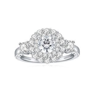 14K White Gold Vintage Halo Style Channel Set Round Brilliant Diamond Engagement Ring Milgrain Moissanite Center
