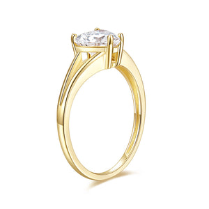 14K Rose Gold Elegant Split Converge Shank Engagement Ring w/Round Forever One Moissanite Center