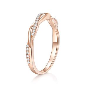 DEF Color 14K Rose Gold Moissanite Stone Engagement Ring Solitare with Accents for Women
