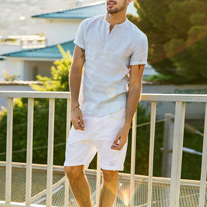 Livmall Men's Linen Short Sleeve Solid Shirt