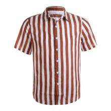 Load image into Gallery viewer, Livmall Men's Fashion Striped Short Sleeve Shirt
