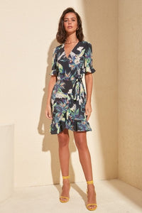 Livmall Womens Belted Print Dress