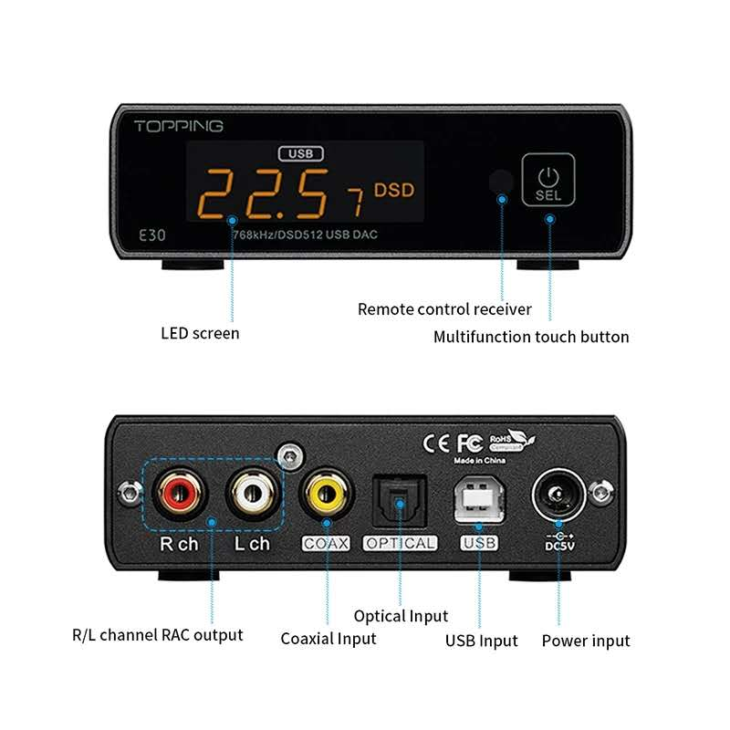 TOPPING E30 DAC Decoder AK4493 XU208 32BIT/768K DSD512 Touch Operation with Remote Control Hi-Res