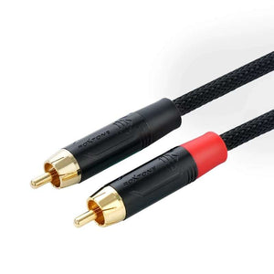 Fanmusic C003 2 Core Single-channel Male to Male RCA Gold-plated Audio Cable 25cm