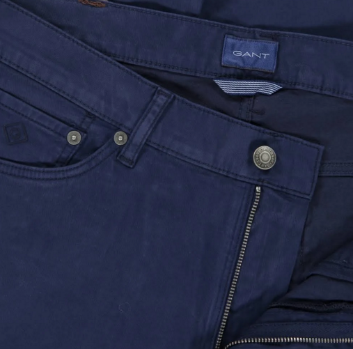 "Gant ""Satin"" Tapered Canvas Jeans Navy"
