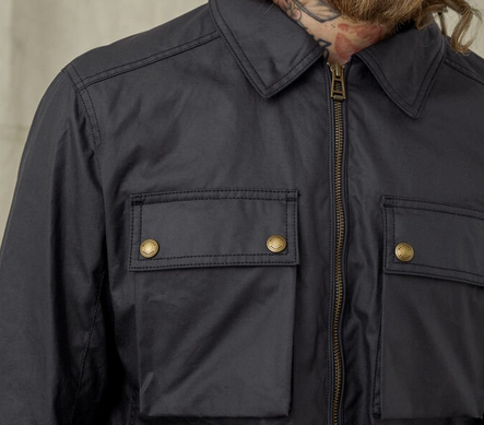 "Belstaff ""DUNSTALL"" 6oz Waxed Cotton Jacket Dark Navy"