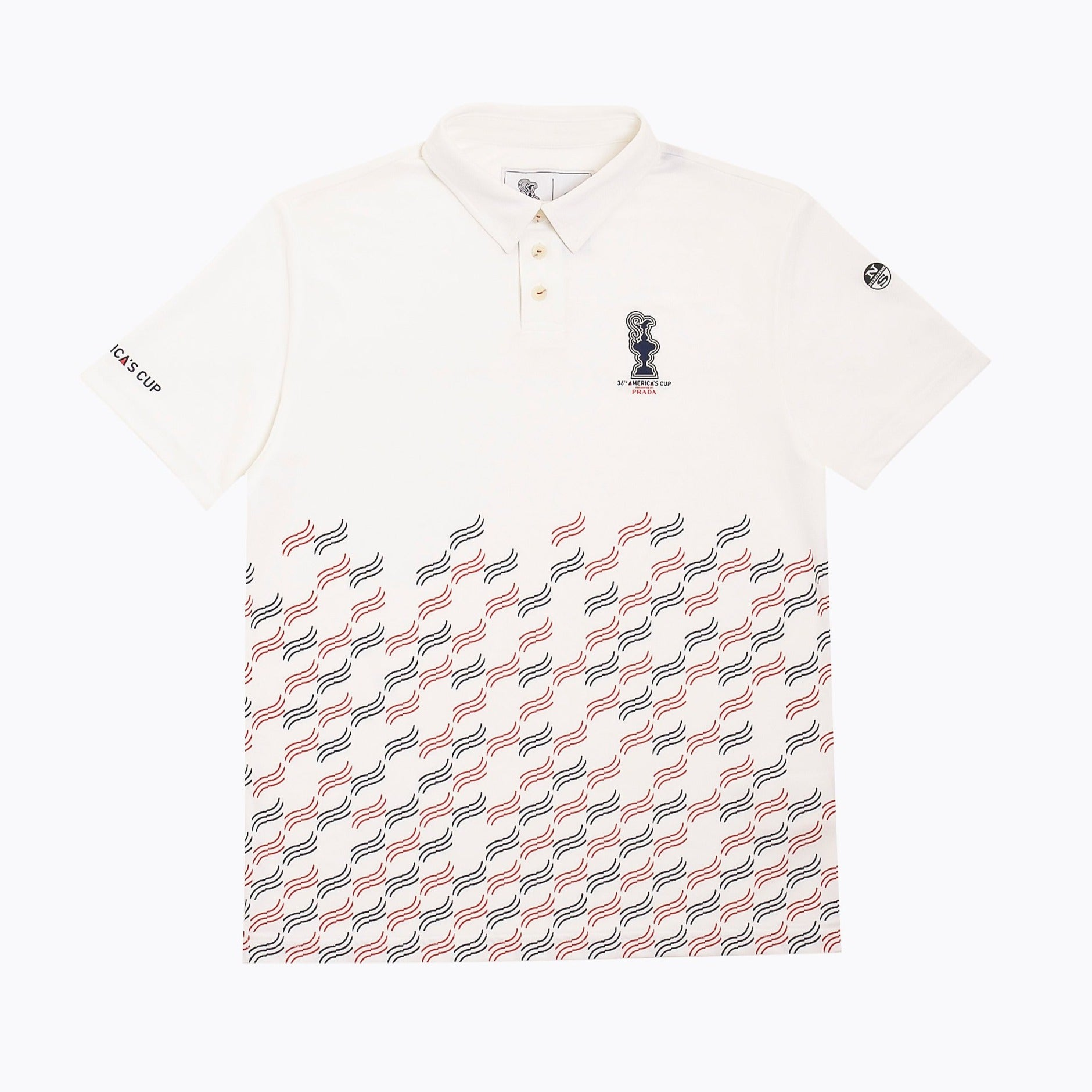 North Sails America's Cup Presented by PRADA Valencia Polo Shirt White 'Waves Print'