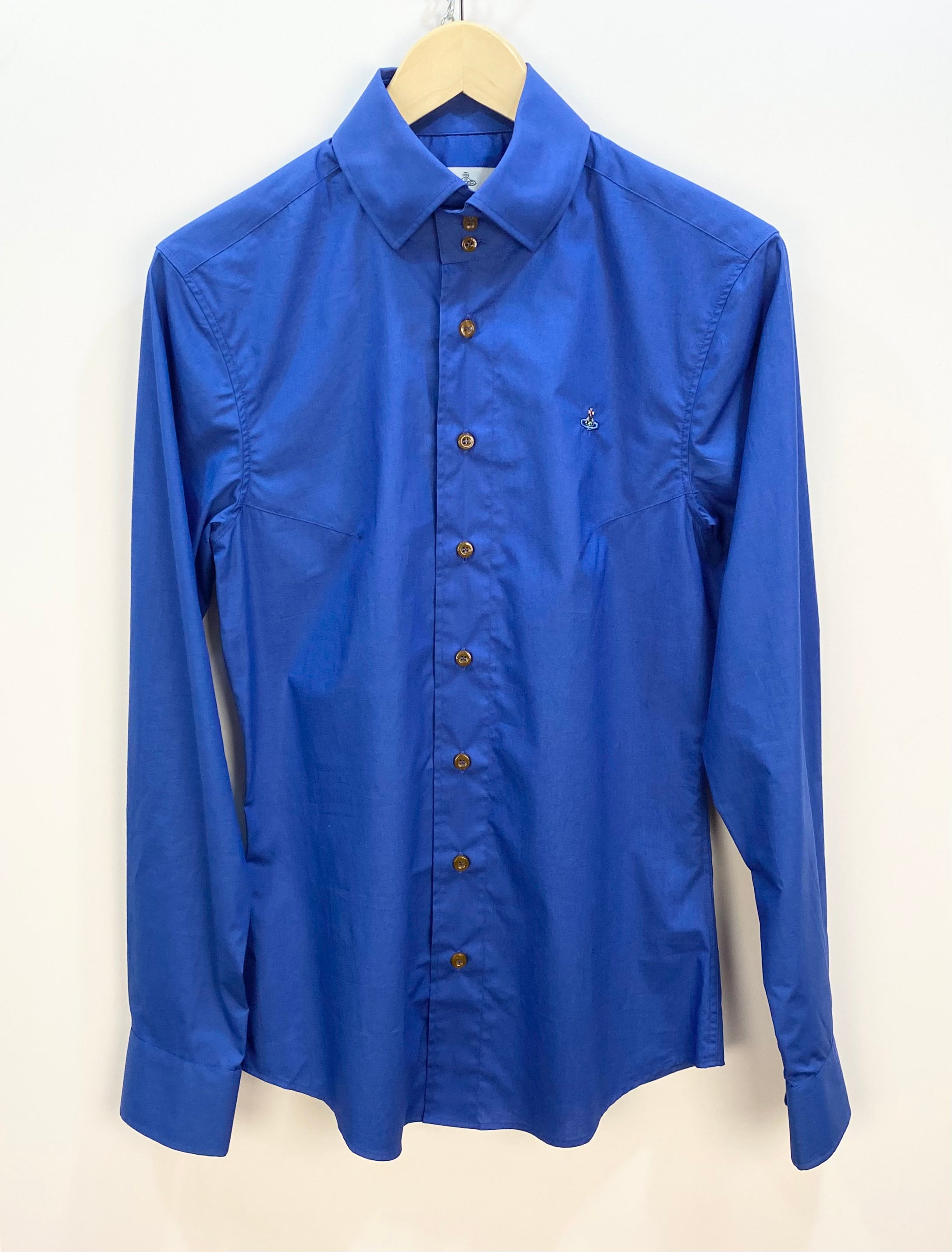 Vivienne Westwood 3 Button Collar Long Sleeve Shirt Royal Blue