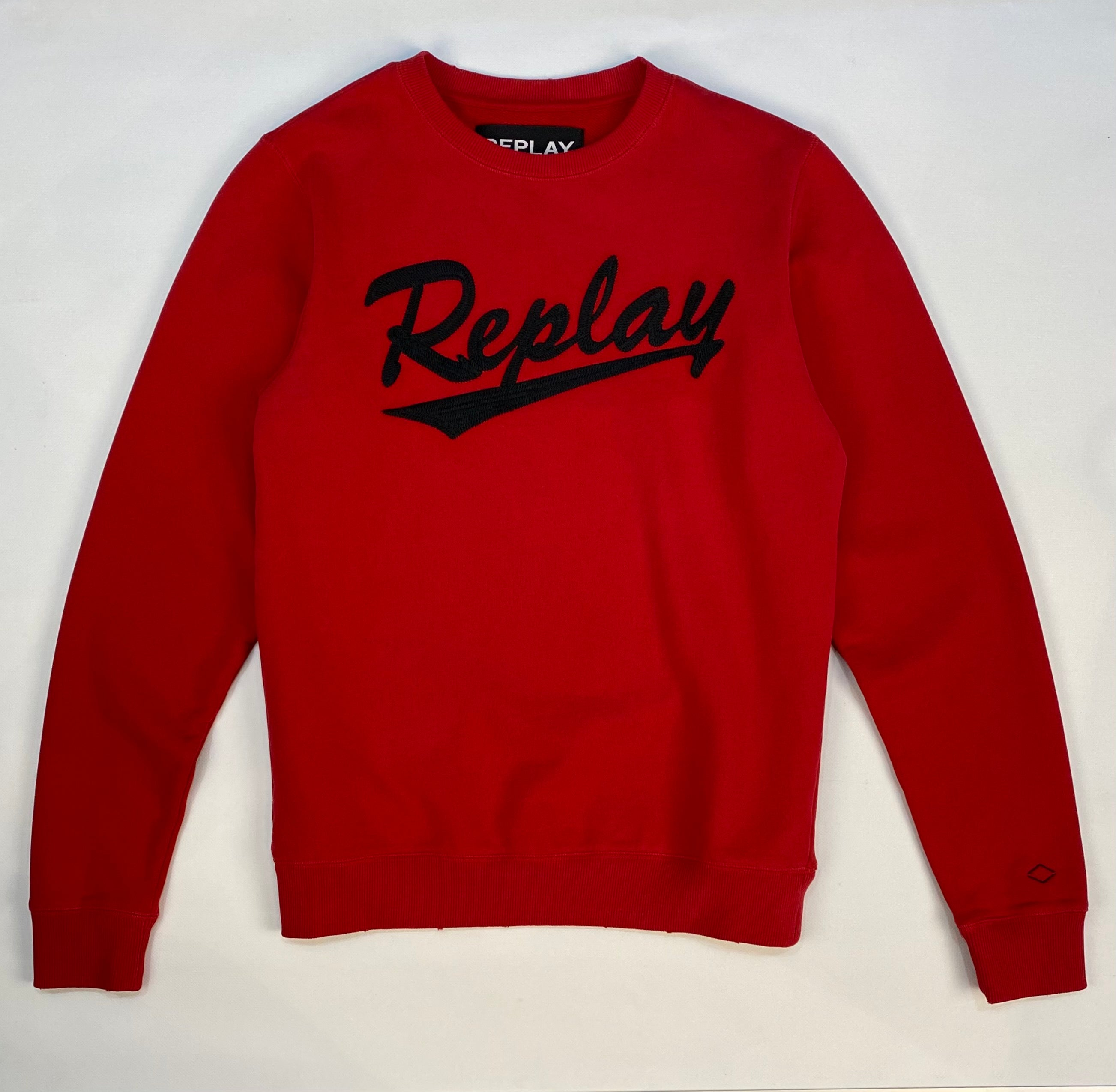 Replay Applique Front Worn and Washed Crew Sweat Red