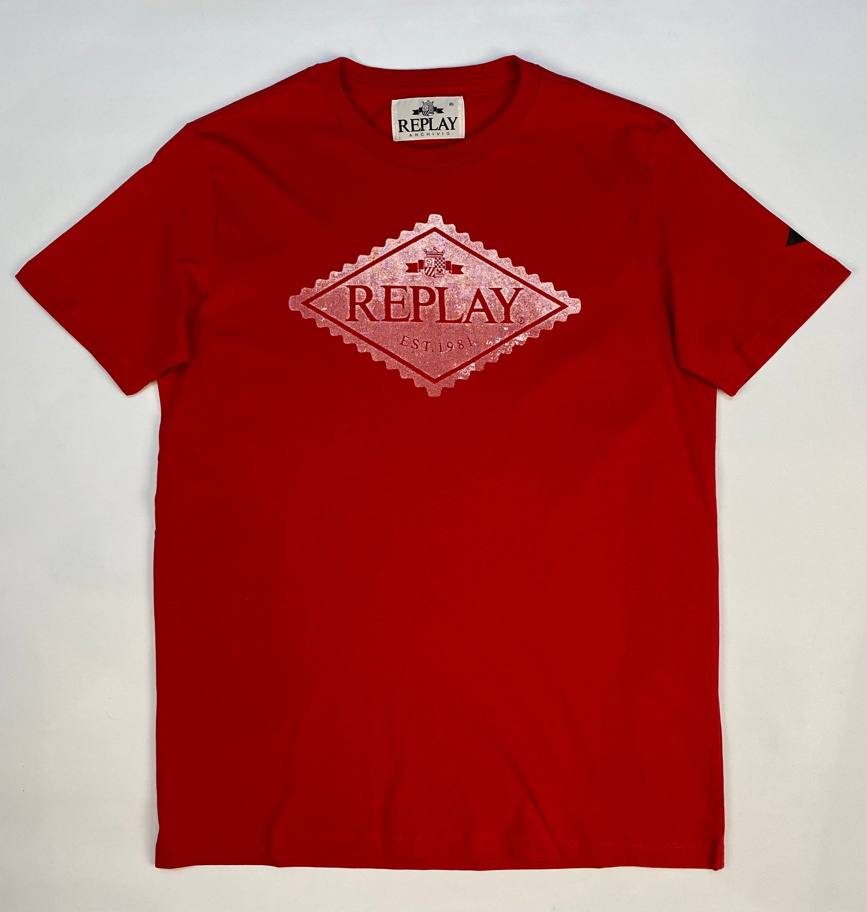 "Replay  ""Label Print"" T-Shirt Red"