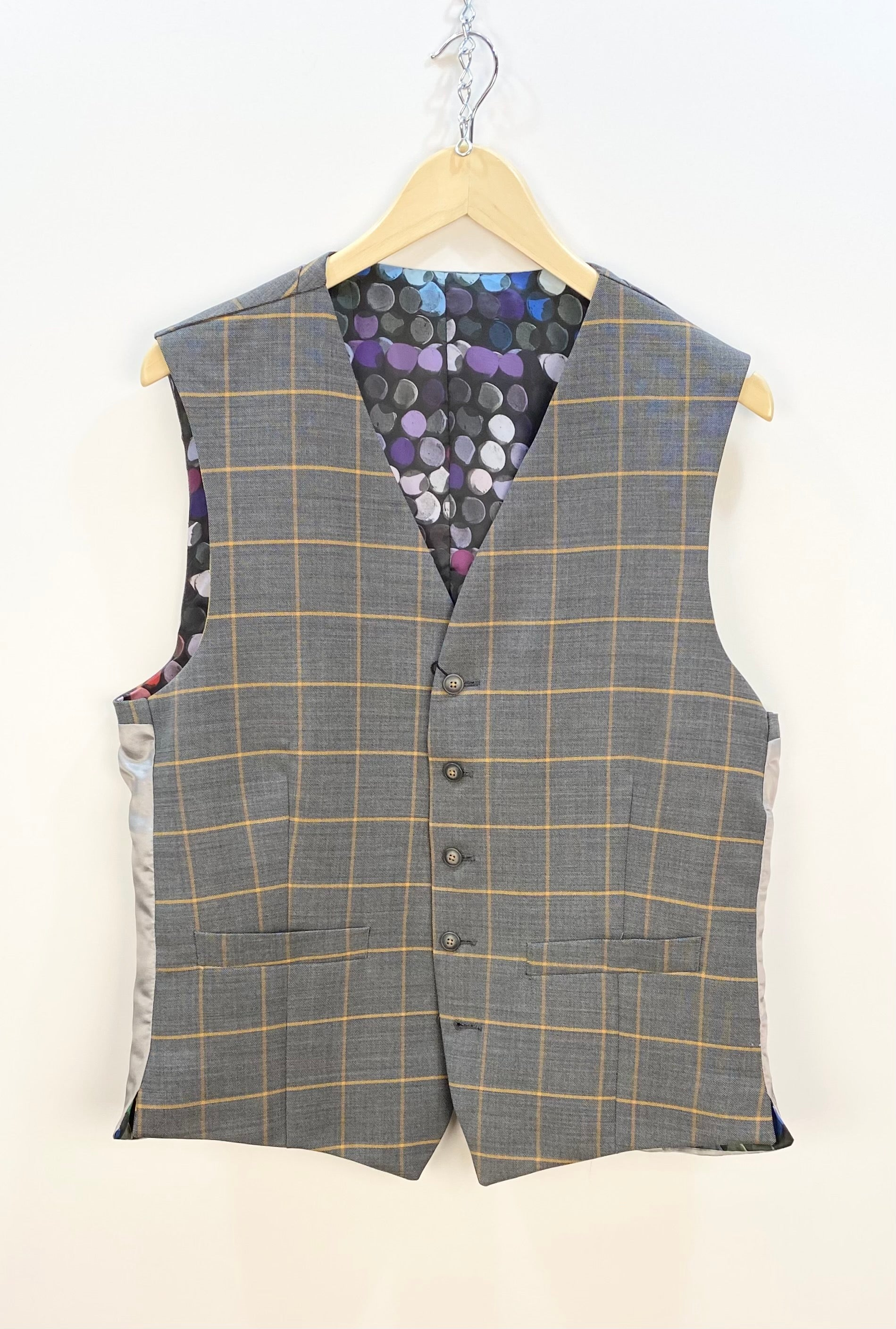 Gibson London 'MARRIOT' Check Waistcoat Grey / Tan