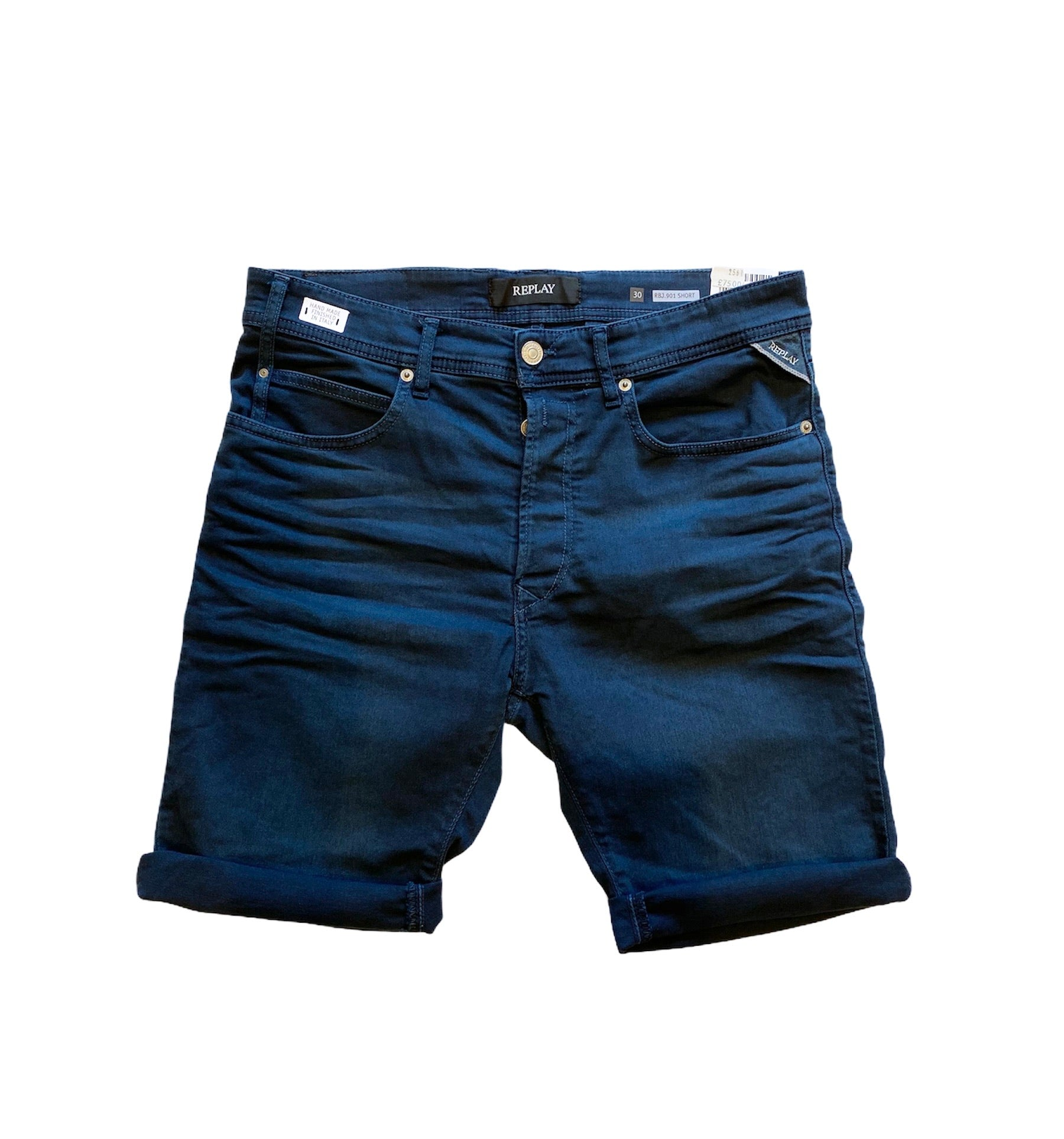 Replay Garment Dyed Stretch Denim Shorts Navy