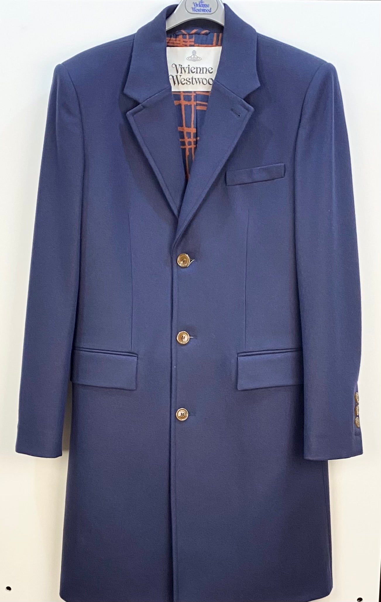 Vivienne Westwood Long Wool Coat Navy
