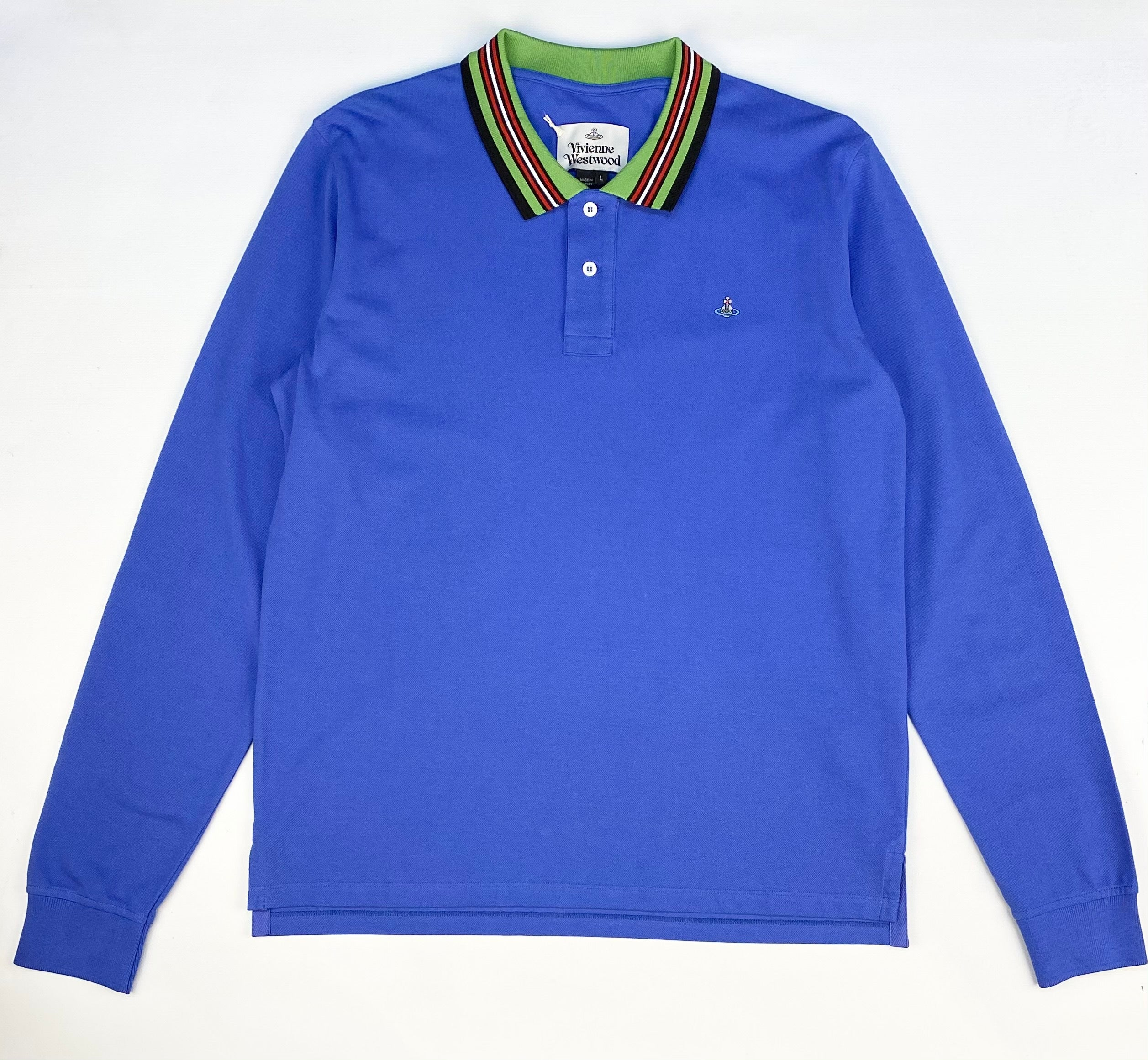 Vivienne Westwood Long Sleeve Polo Shirt Blue