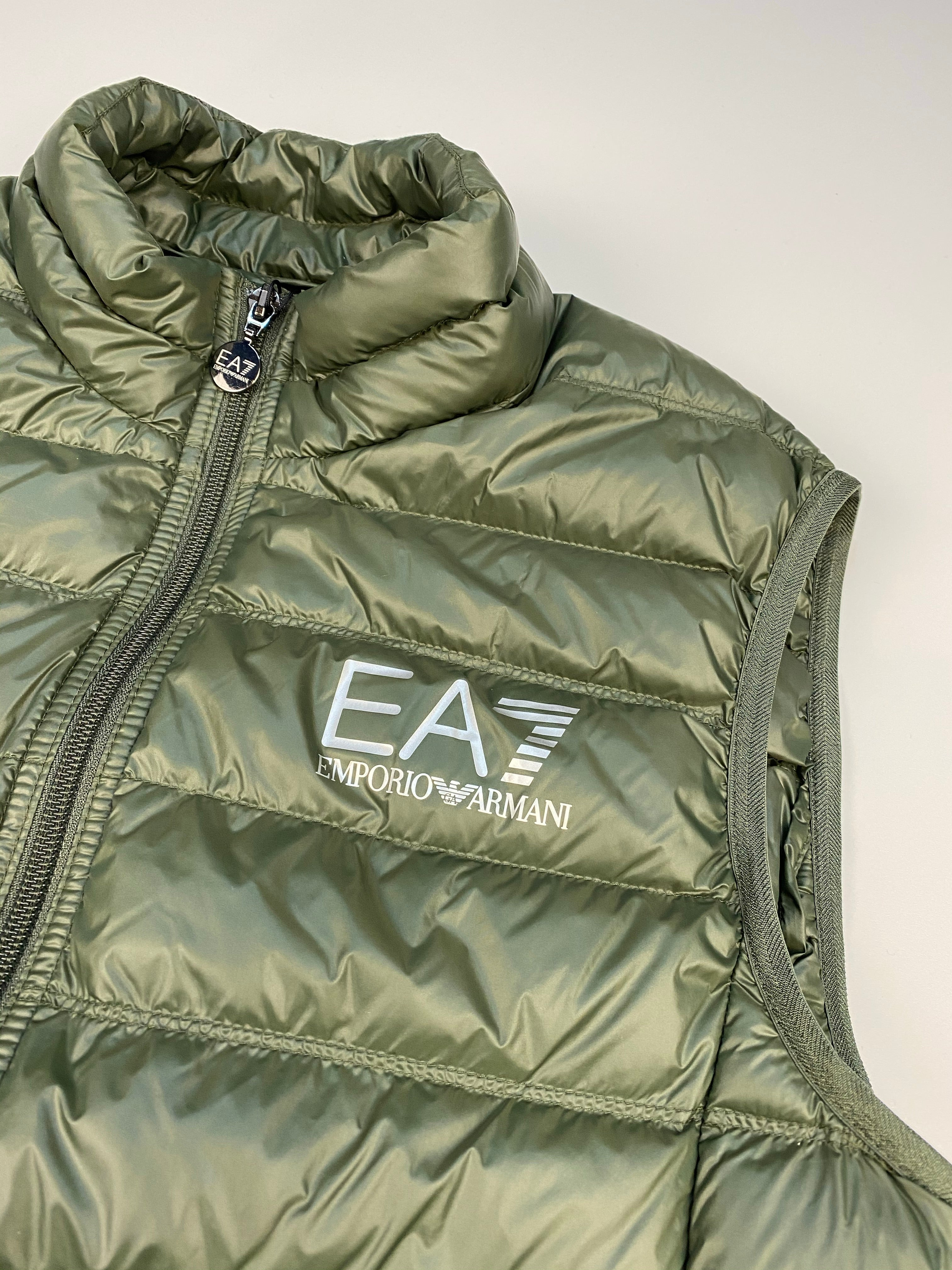 EA7 Packable Down Filled Nylon Gilet Climbing Ivy Green