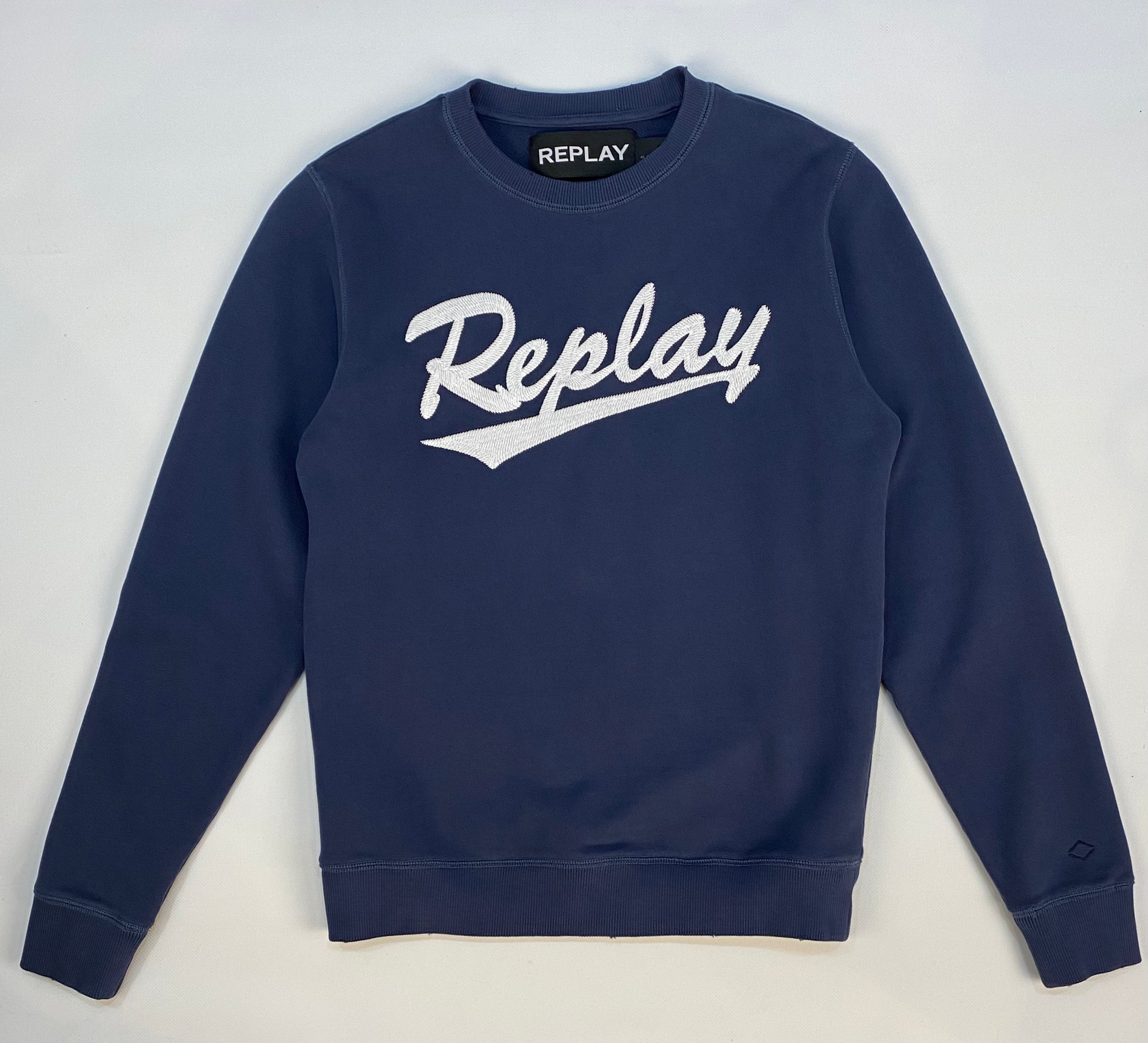 Replay Applique Front Worn and Washed Crew Sweat Navy