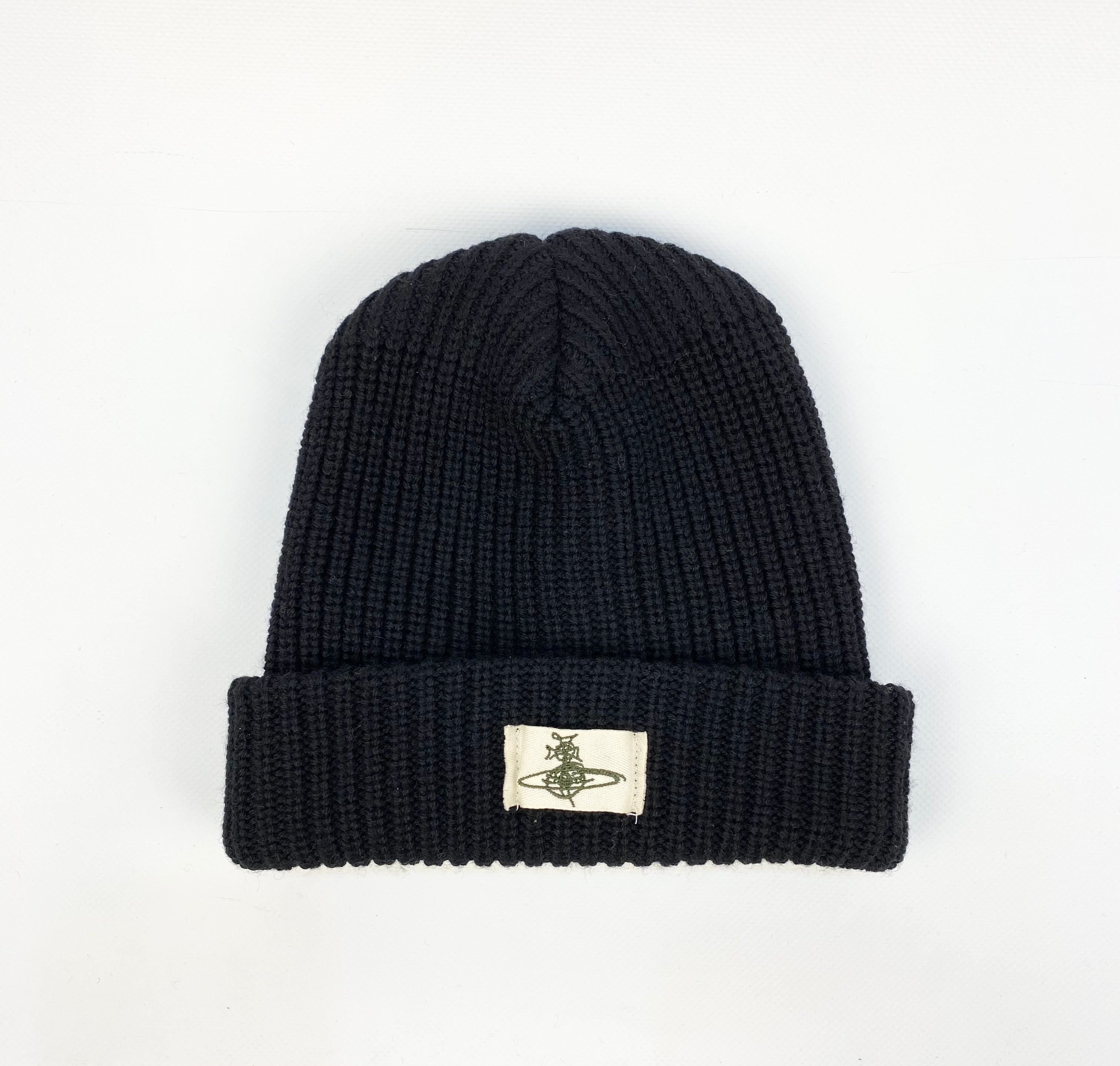 Vivienne Westwood Chunky Knitted Beanie Hat Black
