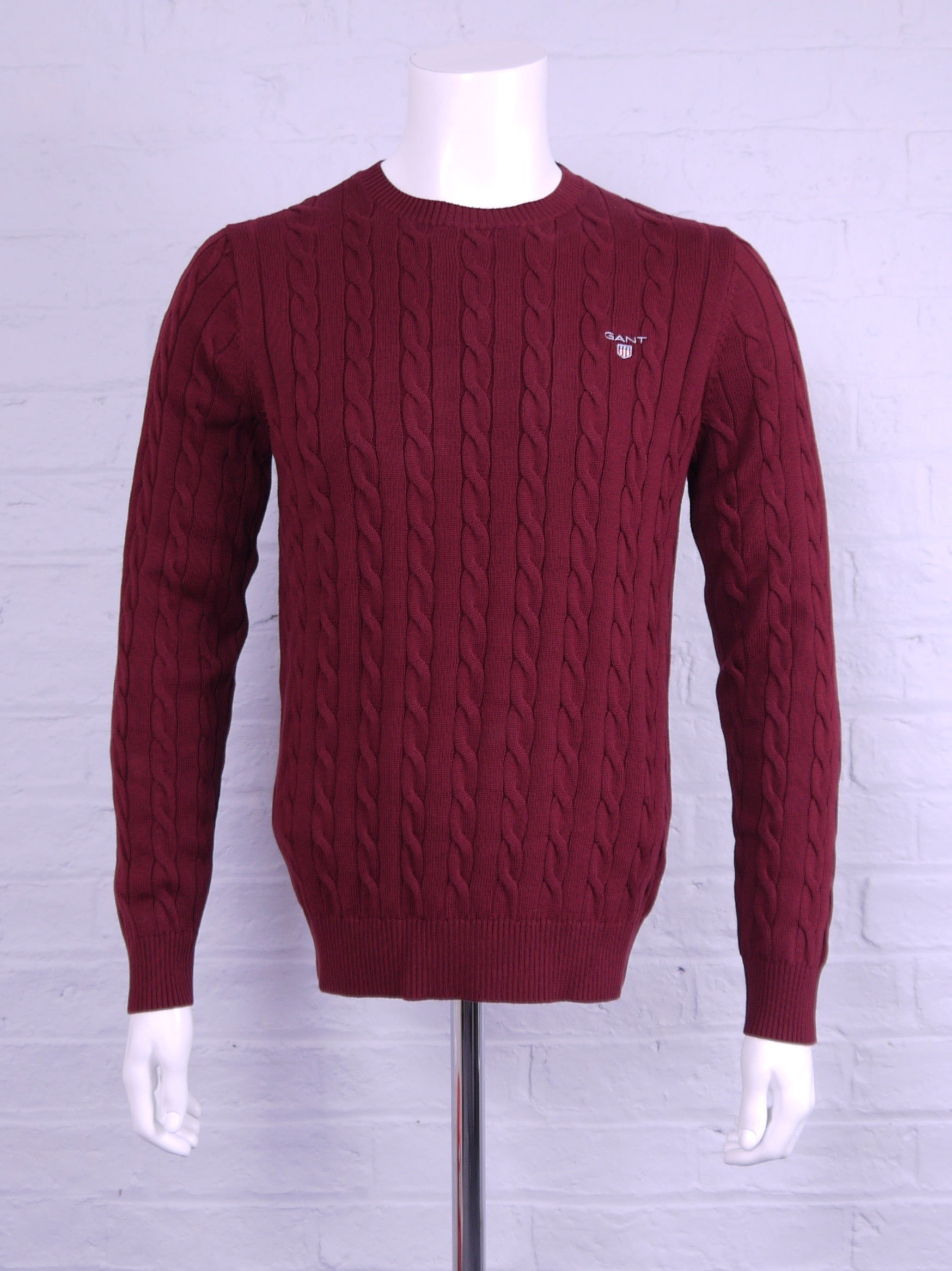 "Gant ""Cable"" Crew Neck Knit Port Red"