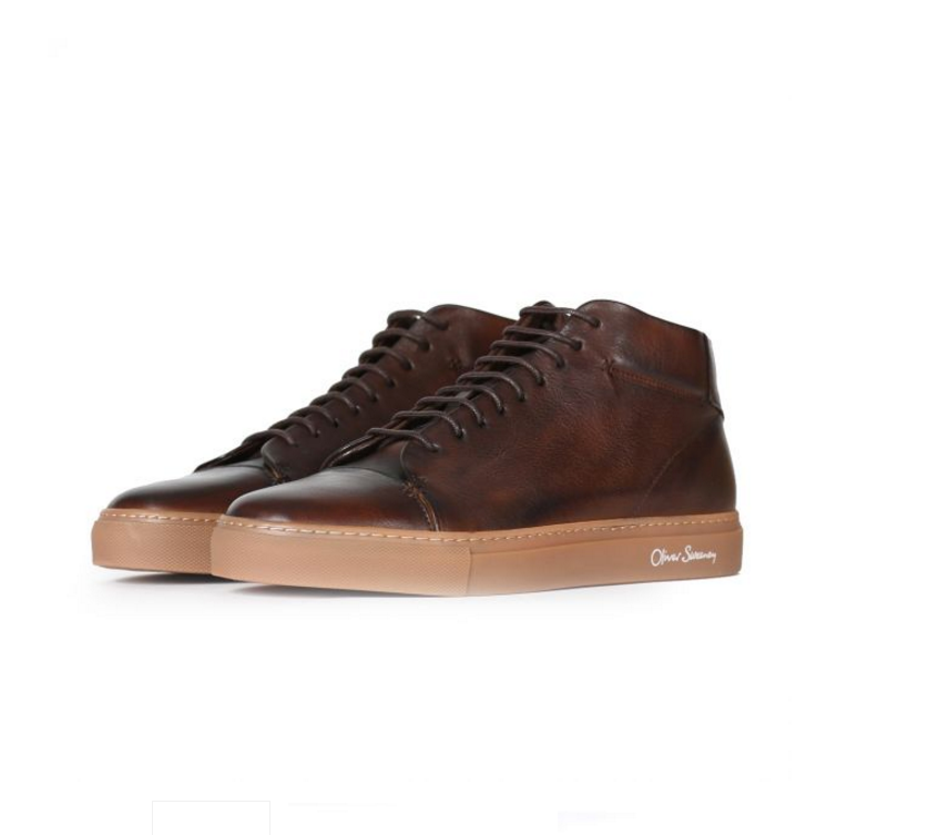 "Oliver Sweeney ""NOVAS"" Calf Leather Mid Top Trainer Brown"