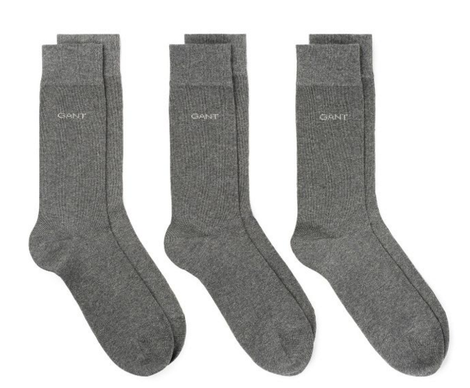 Gant 3 Pack Soft Cotton Socks Grey