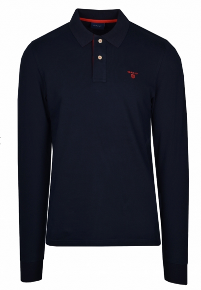 "Gant "" Contrast Collar"" Long Sleeve Polo Navy"