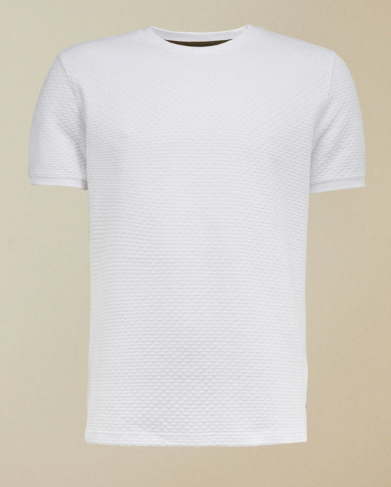 Ted Baker 'CARAMEL' Basket Weave Textured T-Shirt White