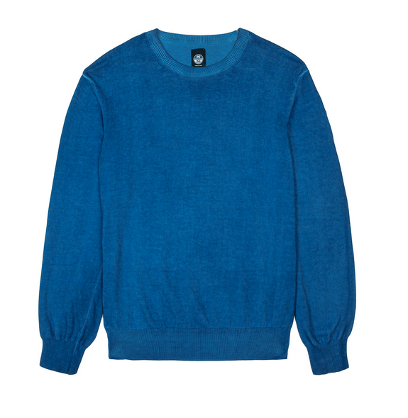 North Sails Garment Washed Crew Neck Knit Ocean Blue