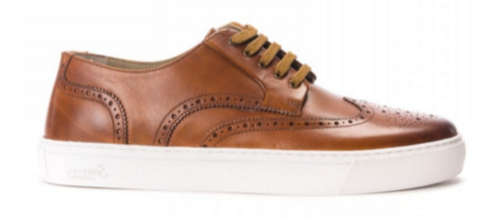 "Oliver Sweeney ""BURWELL"" Antiqued Leather Brogue Trainer Tan"