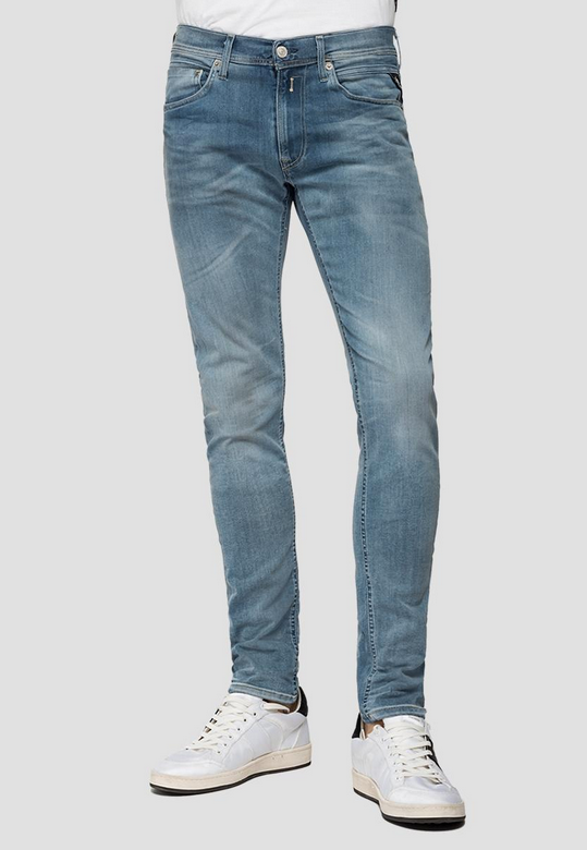 "Replay ""HYPERFLEX"" Anbass BIO Edition Slim Stretch Jeans Bleached Wash"