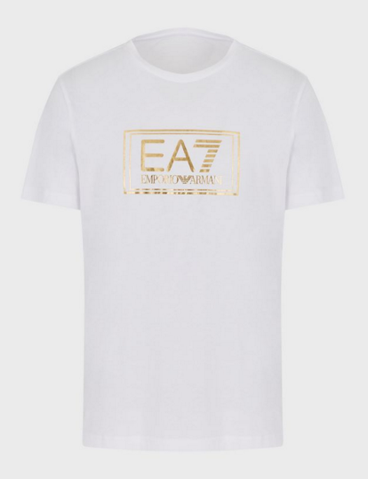 EA7 Basic 'GOLD' Chest Print T-Shirt White