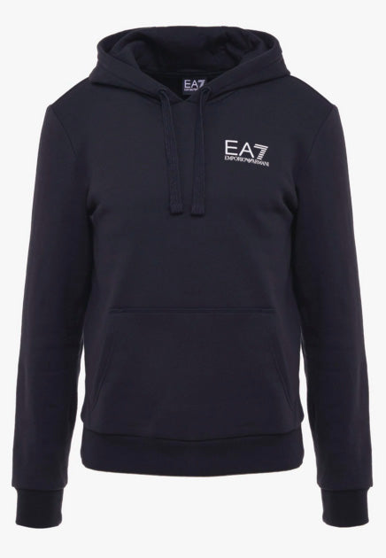EA7 Basic Chest Branded Zip Through Hooded Sweat Navy