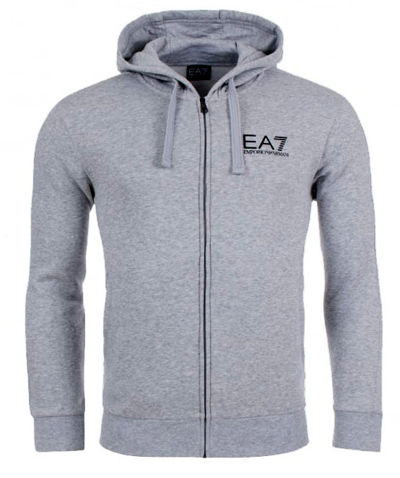 EA7 Basic Chest Branded Zip Through Hooded Sweat Grey Marl