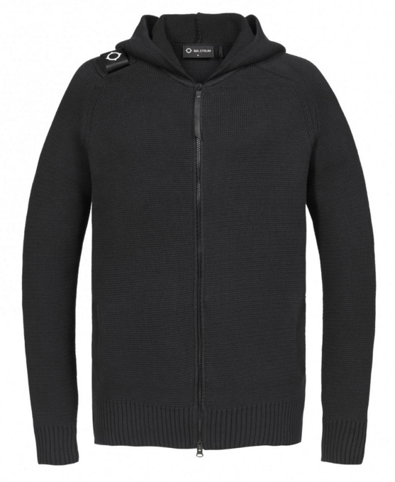"MA. Strum ""MILANO"" Full Zip Hooded Knit Jet Black"