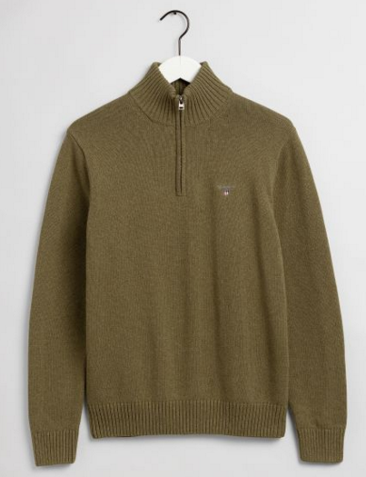 Gant Causal Cotton Half Zip Olive Melange