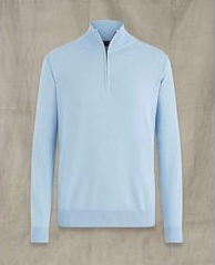 "Belstaff ""BAY"" 1/2 Zip Neck Knit Sky Blue"