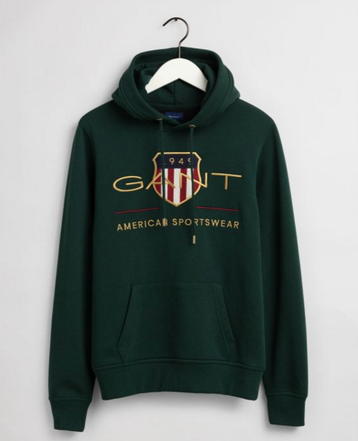 "Gant ""Archive Shield"" Hood Sweatshirt Tartan Green"
