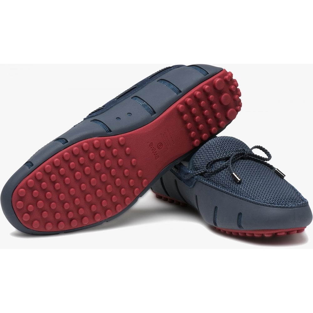 Swims Braided Lace Loafer Navy / Deep Red