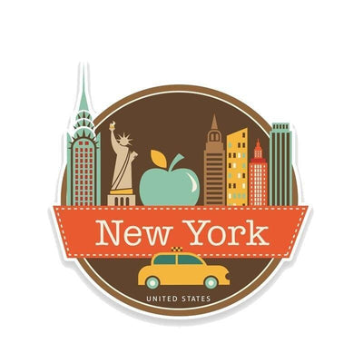 Stickers Vintage New York Couleur