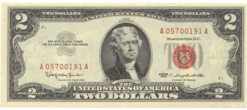 "États-Unis. Billet à cours légal (""United States""), Série 1963, 2 dollars (ANS 1989.47.1 ; don de William B. Warden, Jr.)"